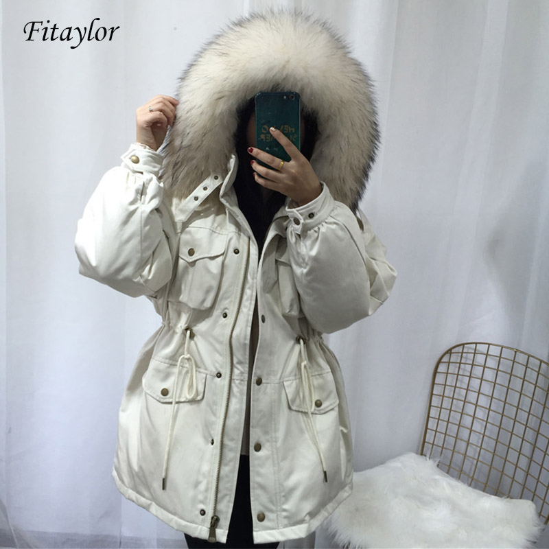 Fitaylor Large Natural Raccoon Fur   Down     Coat   Winter Jackets Women White Duck   Down   Pocket Hooded Parkas Female Warm Outwear