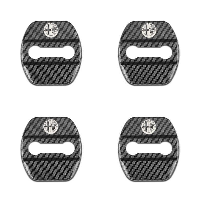 4 Pcs Auto Dekorasi Serat Karbon Pola Pintu Kunci Cover Case untuk Alfa Romeo Giulietta 159 Stelvio 147 Stiker Emblem