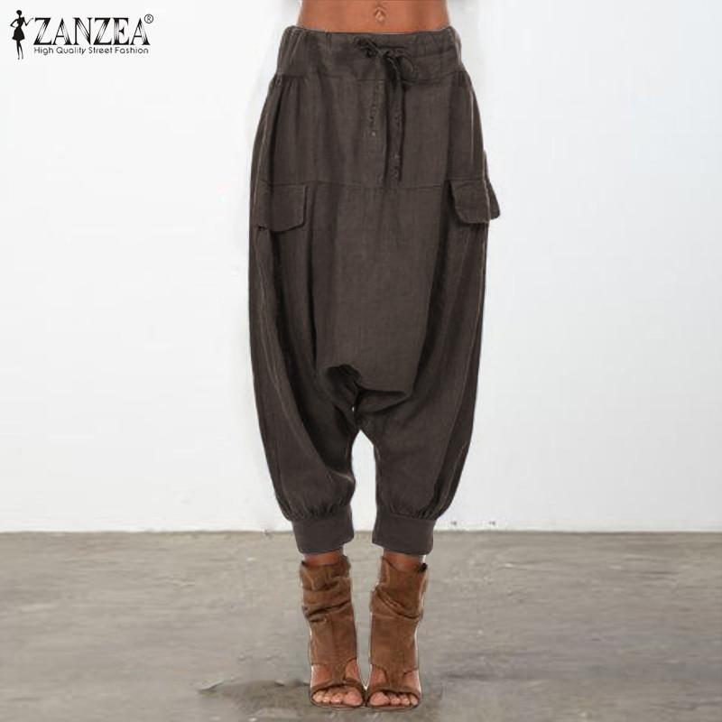 ZANZEA Women Casual Drop-crotch Trousers Loose Elastic Waist Harem Pants Casual Drawstring Streetwear Pantalon Turnip Pants