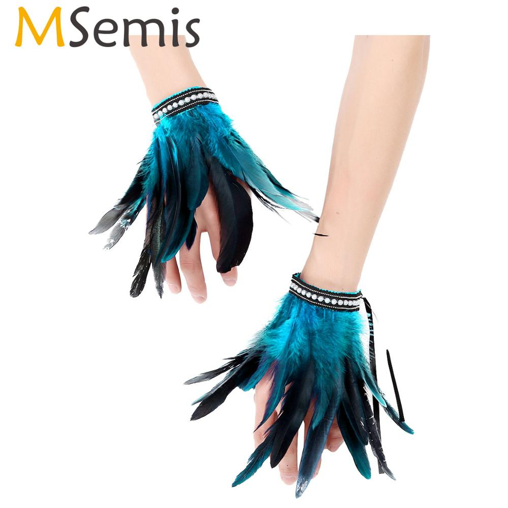 MSemis 1 Pair Feather Wrist Cuffs  Faux Pearl/Lace Real Decor Natural Dyed Rooster Feather Arm Cuffs Halloween Party Costume