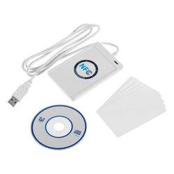 NFC RFID bezdotykowy inteligentny czytnik Writer duplikator zapisywalny klon oprogramowanie USB S50 13.56mhz + SDK + 5 sztuk Mifare karta elektroniczna ACR122U w Czytniki kart kontrolnych od Bezpieczeństwo i ochrona na