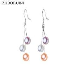 ZHBORUINI, серьги с жемчугом, натуральный пресноводный жемчуг, кисточки, жемчужные ювелирные изделия, серьги-капли, 925 пробы, серебряные ювелирные изделия для женщин
