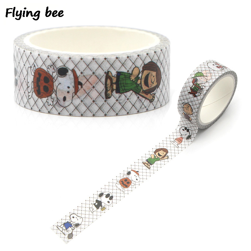 Flyingbee 15mmX5m Pet Puppy Paper Washi Tape Cute Dogs Adhesive DIY Scrapbooking Sticker Label Masking X0265