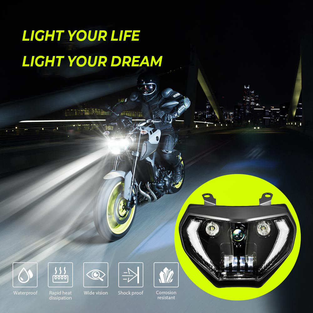 KEMiMOTO MT07 MT09 Headlight LED Lamp MT07 2018 2019 For YAMAHA Headlight MT09 FZ09 2014 2015 2016 DRL 110W