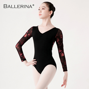 Image 4 - Ballet Leotards long sleeve For Women Dance Costume open back gymnastics printing mesh Leotards Ballerina 5887