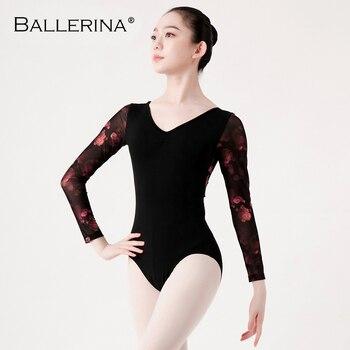 Ballet Leotards long sleeve For Women Dance Costume open back gymnastics printing mesh Ballerina 5887 - discount item  10% OFF Stage & Dance Wear