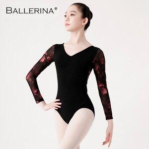 Image 4 - บัลเล่ต์Leotardsยาวสำหรับสตรีเต้นรำชุดเปิดกลับยิมนาสติกตาข่ายLeotards Ballerina 5887