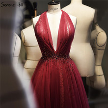 Красное сексуальное вечернее платье с лямкой на шее без рукавов, 2020 Кристальное ТРАПЕЦИЕВИДНОЕ официальное платье из тюли, дизайн Serene hilm LA70348