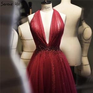 Image 1 - אדום הלטר סקסי ללא שרוולים ערב שמלות 2020 קריסטל אונליין טול שמלת עיצוב Serene היל LA70348