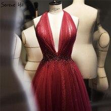 Kırmızı Halter seksi kolsuz abiye 2020 kristal A Line tül resmi elbise tasarım sakin tepe LA70348
