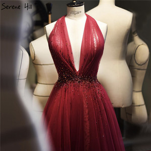 Image 1 - Red Halter Sexy Sleeveless Evening Dresses 2020 Crystal A Line Tulle Formal Dress Design Serene Hill LA70348