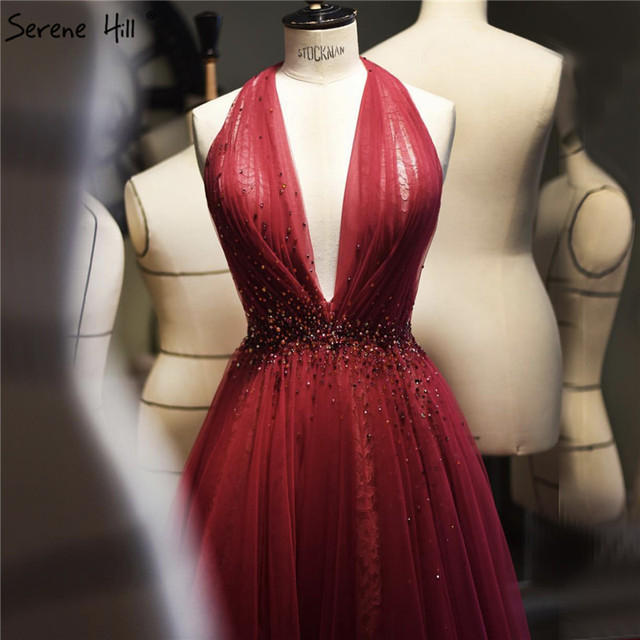 Red Halter Sexy Sleeveless Evening Dresses 2020 Crystal A Line Tulle Formal Dress Design Serene Hill LA70348