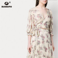ROHOPO Butterfly Long Sleeve Red Rose Floral Wrap Fly Bow Belted Chiffon Blouse Beige Elegant Holiday Beach Ladies  Shirt #9111