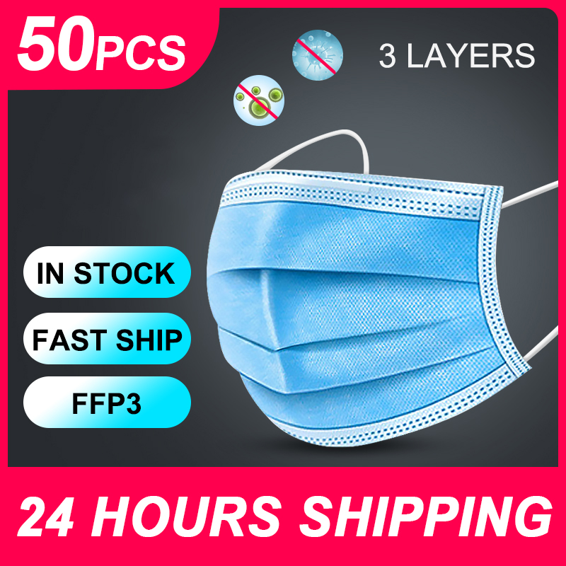 Disposable Mask Ffp3 Face Mask PM2.5 Dust Masks Germ Protection Mouth Mask 50pcs Face Masks 3-layers Disposable Masks FFP3