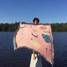 Różowy hawaje rzut koc w stylu amerykańskim wielofunkcyjny nowy rok Sofa obejmuje kurz klimatyzacja koce na łóżko