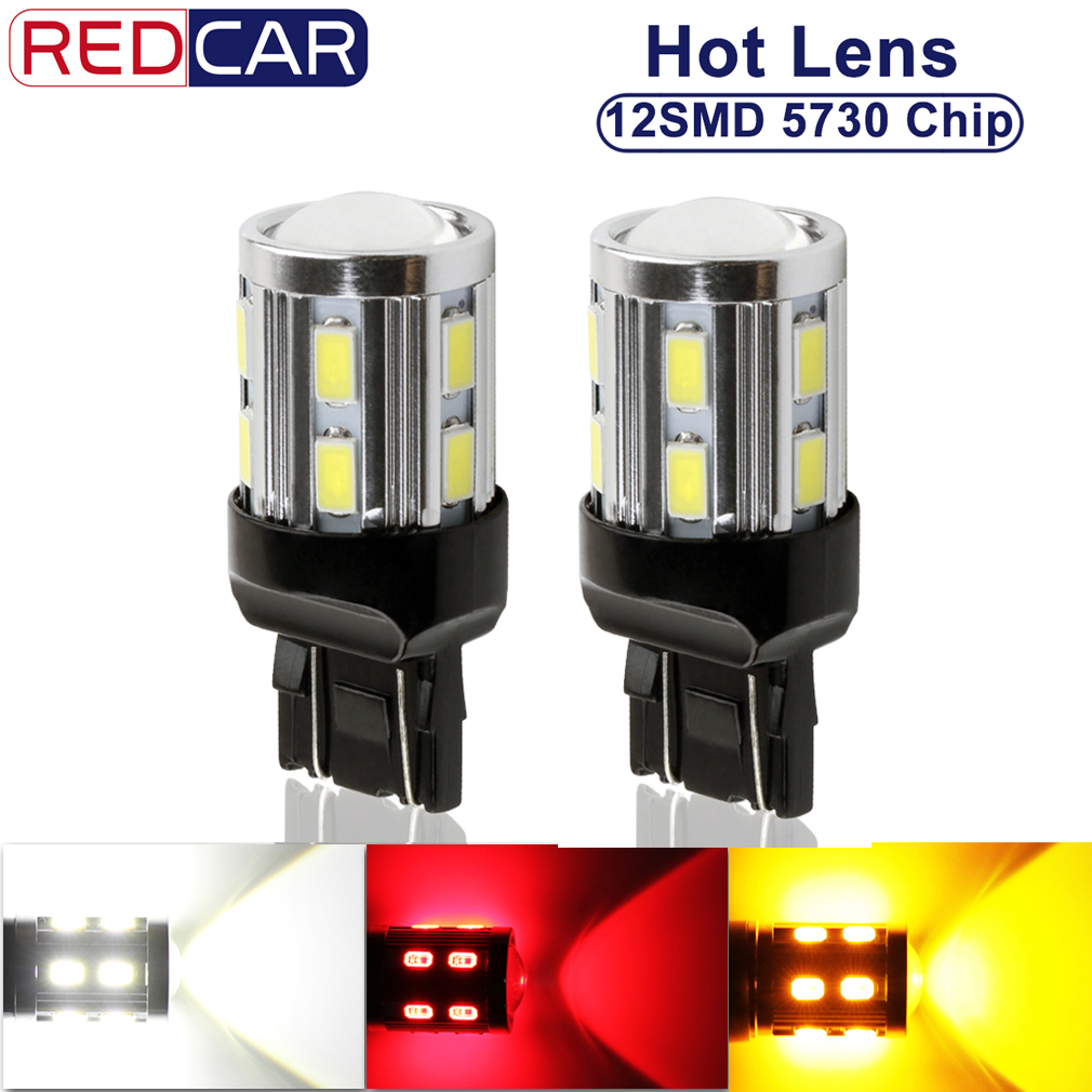 2pcs T20 7443 Led Bulb W21/5W 5W Car Led Bulb <font><b>12</b></font> <font><b>SMD</b></font> 5730 Turn Signal Brake Light Source parking auto White Red Yellow image