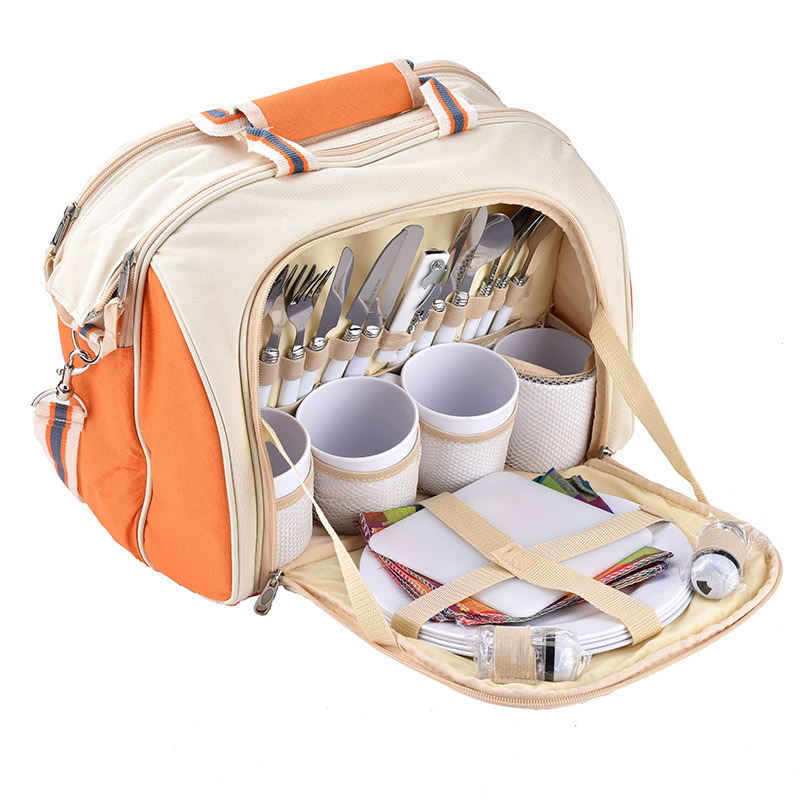 30L Large Capacity Outdoor Picnic Bag Lunch Cooler Bag With Tableware Sets