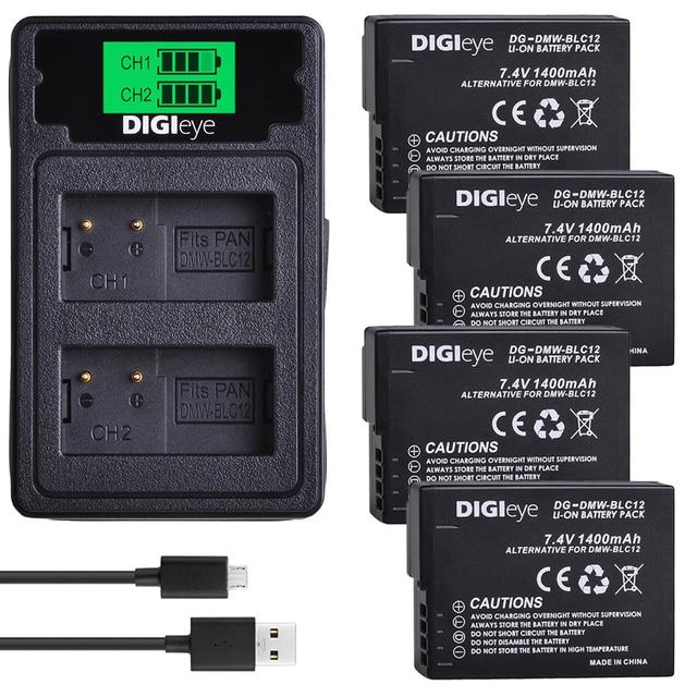 DMW-BLC12 Battery LCD DUAL Charger for Panasonic Lumix DMC-GX8K G5 G6 G7 G81 G85