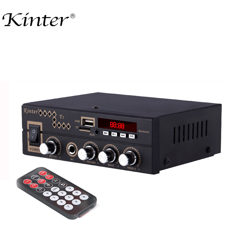 Kinter T1 For Bluetooth 2.0CH Home Amplifier Audio With Microphone /USB/TF/FM/AUX Play Stereo Sound Control Bass Treble Volume