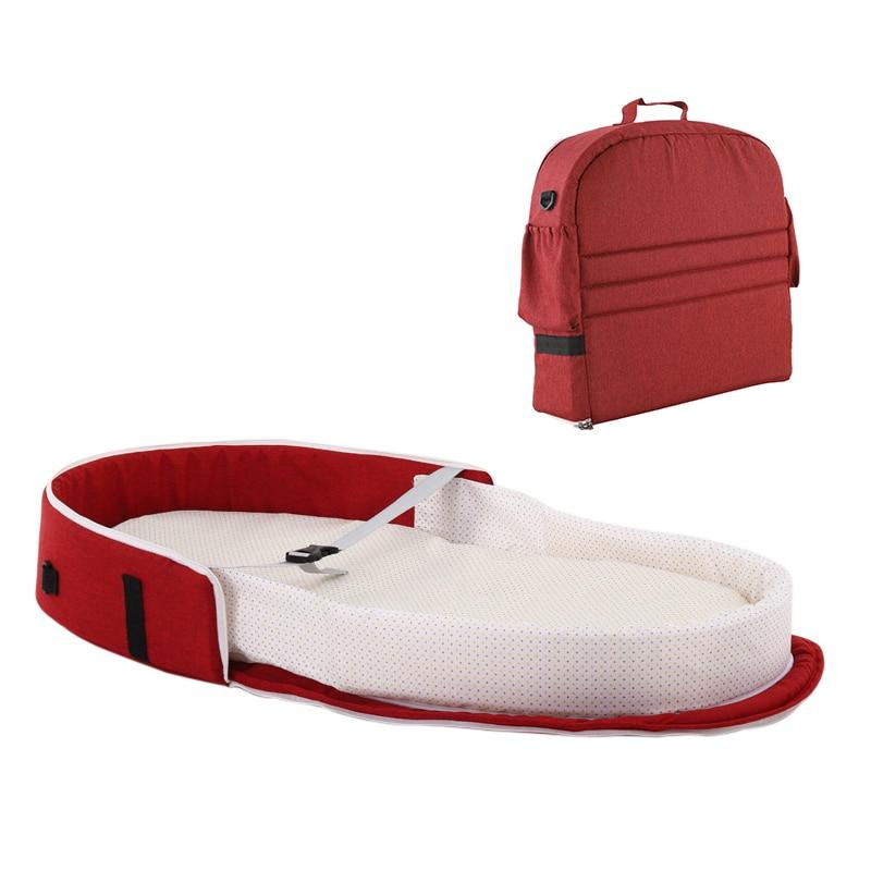 Переносная кровать с игрушками для малышей, складная детская кровать для путешествий, защита от солнца, сетка от комаров, дышащая корзина для сна для младенцев - Цвет: no toy no net