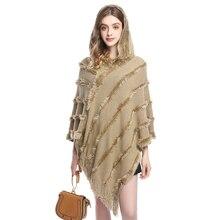 Mùa Thu Dệt Kim Đuôi Nơ Nữ Lông Có Mũ Trùm Đầu Ponchos và Mũ Mùa Đông Ngoài Trời Mặc Chăn Lông Femme Áo Nỉ Cardigan Plus Kích Thước
