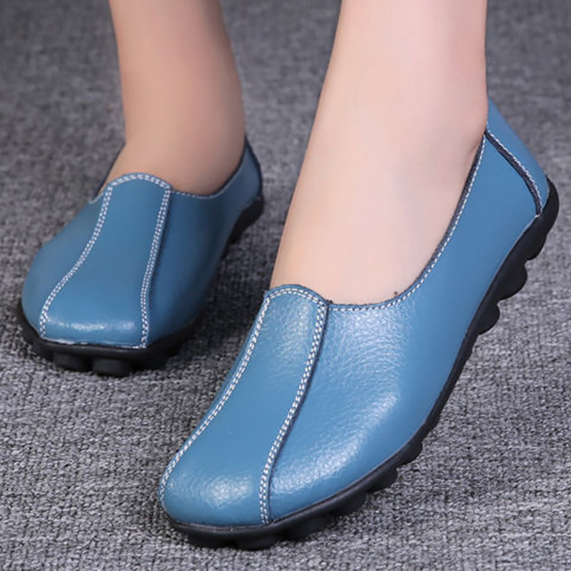 Winter Shoes Women Loafers Short Plush Genuine Leather Shoes Female Warm 2019 Fashion Shoes Woman Genuine Leather Flats