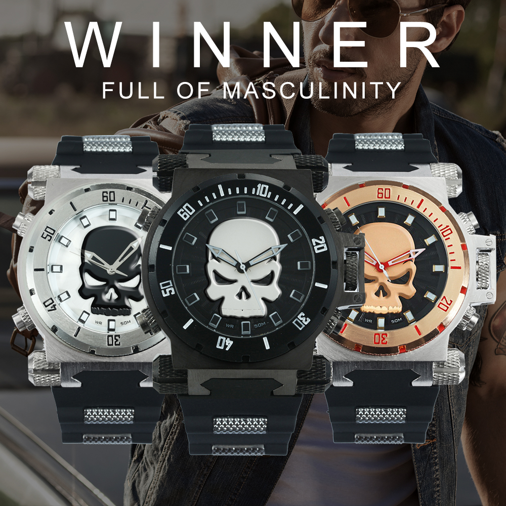 WINNER Official Luxury Men's Fashion Quartz Watch Men Oversize Steampunk Skull Watches Rubber Strap Sports Military Wristwatch