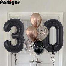 8 pçs/lote 30th 40th 50th 60th festa de aniversário 32 polegada jumbo número preto balões 12 polegada rosa ouro balões festa de aniversário suprimentos