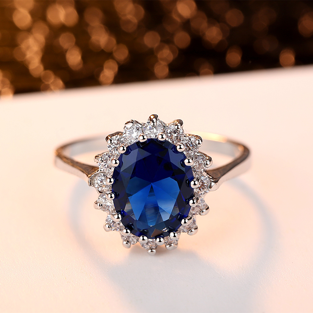 Princess Ring Blue Zircon Transparent Noble Engagement Party Ladies Ring Fashion Jewelry Exquisite Jewelry Decoration Girlfriend