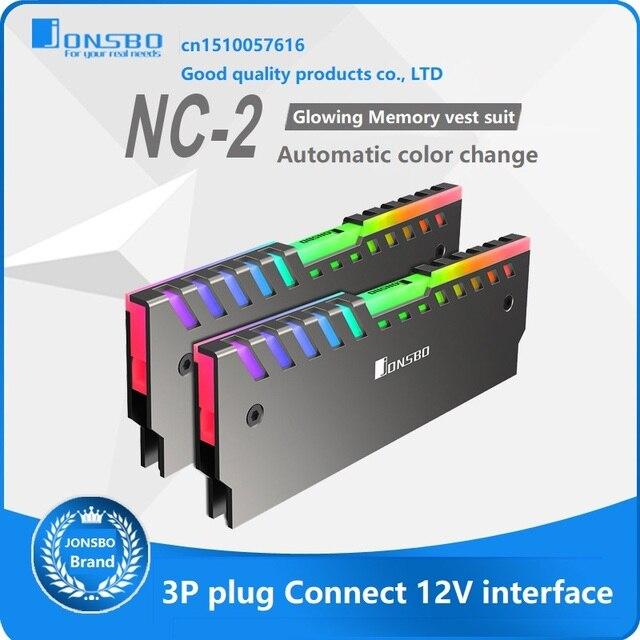 2PCS RAM Heatsink Cooler Shell 256 Color Automatic Change Aluminum Heat Sink  Desktop Memory Cooling Vest NC 2