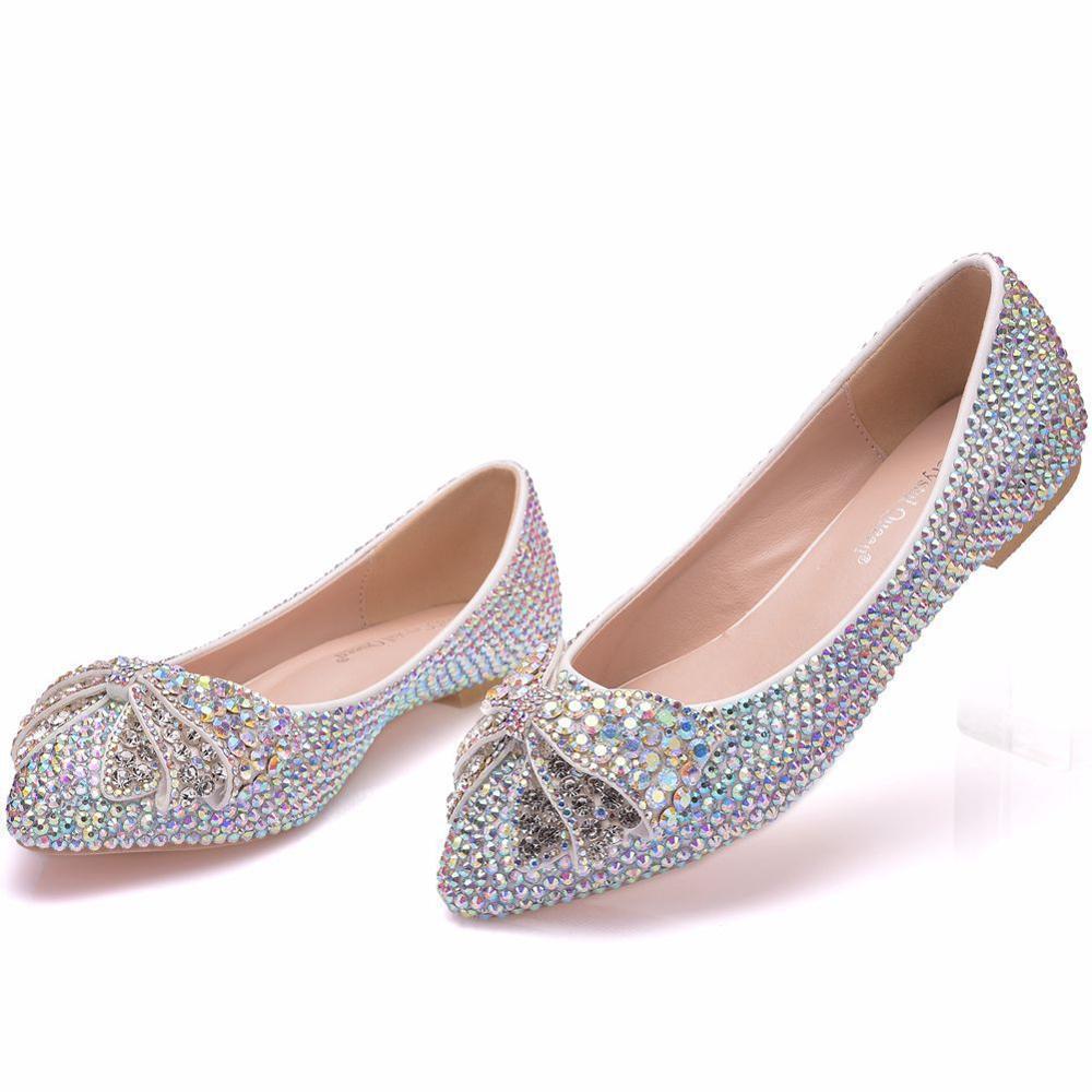 2019 papillon-noeud chaussures plates femmes chaussures plates décontracté strass ballerine chaussures cristal bateau chaussures baskets femmes