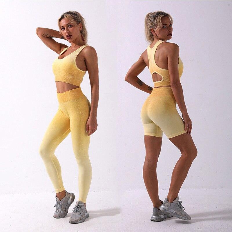 2/3Pcs Gradient Fitness Yoga Suit Sports Set Seamless Sportwear Women Bra+Shorts+Leggings High Waist Workout Outfit Gymwear New 1