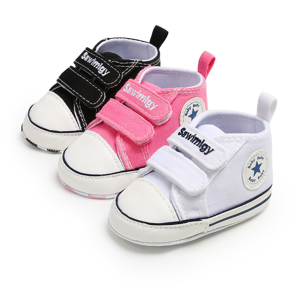 Baby Shoes Boys Girls Sneaker Cotton Soft Anti-Slip Sole Newborn Infant First Walkers Toddler Hook & Loop Canvas Crib Shoes