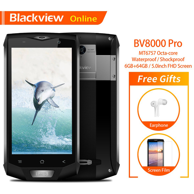 "Blackview BV8000 פרו מקורי 5 ""IP68 עמיד למים מחוספס נייד 6GB + 64GB אוקטה ליבות טביעת אצבע 4G קשה חיצוני Smartphone"