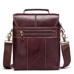 Image 3 - famous brand Genuine Leather Shoulder Bag Men Messenger Bags Handbag Busines Bolsas Travel Sling Crossbody for Male ipad Tote