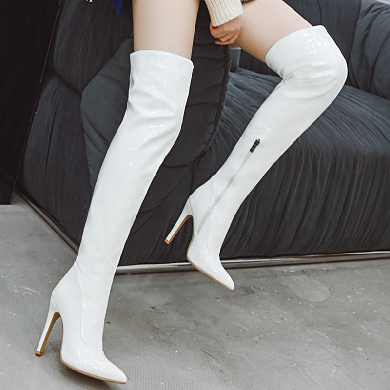 Sexy Mirror Leather Thigh High Boots Women High Heels Over The Knee Boots For Women Point Toe White Red Fetish Party Long Shoes