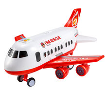 Children'S Toy Aircraft Boy Baby Oversized Music Track Inertia Toy Car Plane Passenger Model Large Storage Space,Red(China)
