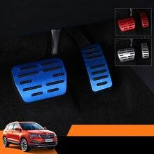 Lsrtw2017 Aluminum Alloy Car Accelerator Brake Rest Pedal Trims for Skoda Karoq Interior Mouldings Accessories