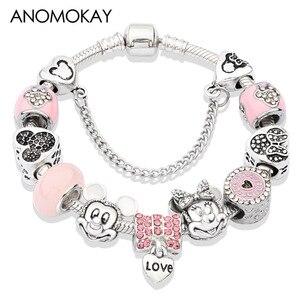 Женский браслет с розовым кристаллом Микки и Минни, серебряный браслет с подвесками в виде сердечек и бусин, подарочные украшения для девоч...
