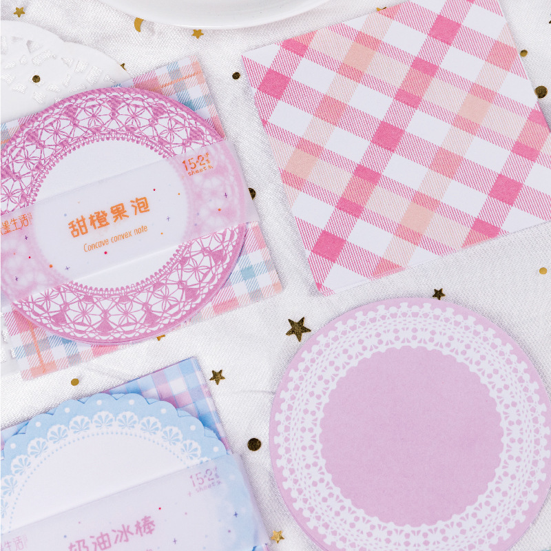 1set/lot Memo Pads Sticky Notes Color Plaid Paper Diary Scrapbooking Stickers Office School Stationery Notepad