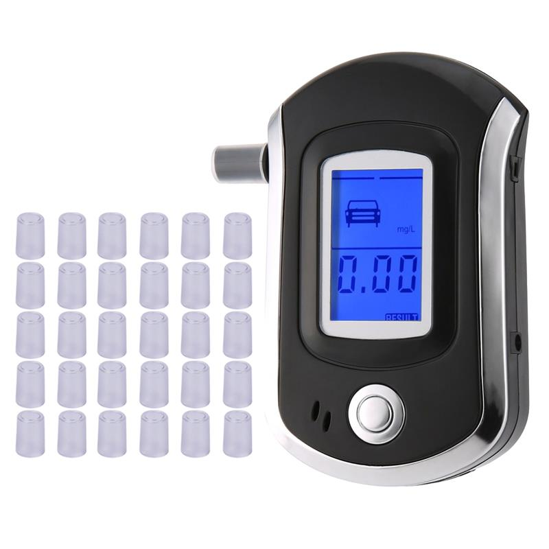 AT6000 Alcohol Tester With 31 Mouthpieces Professional Digital Breath  Breathalyzer With LCD Dispaly  Bafometro Alcoholimetro Df