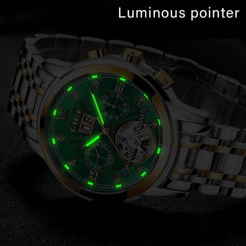 LIGE véritable montre hommes automatique mécanique Tourbillon montre de luxe en acier inoxydable Sport montres hommes Relogio Masculino - 5