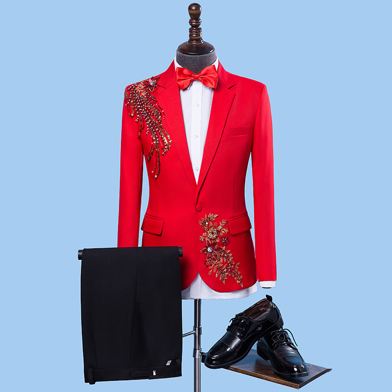 2020 Men New Style Stereo Sequin Parquet Suit Singer Master Of Ceremonies Suit Stage Studio Embroidery Performance Suit