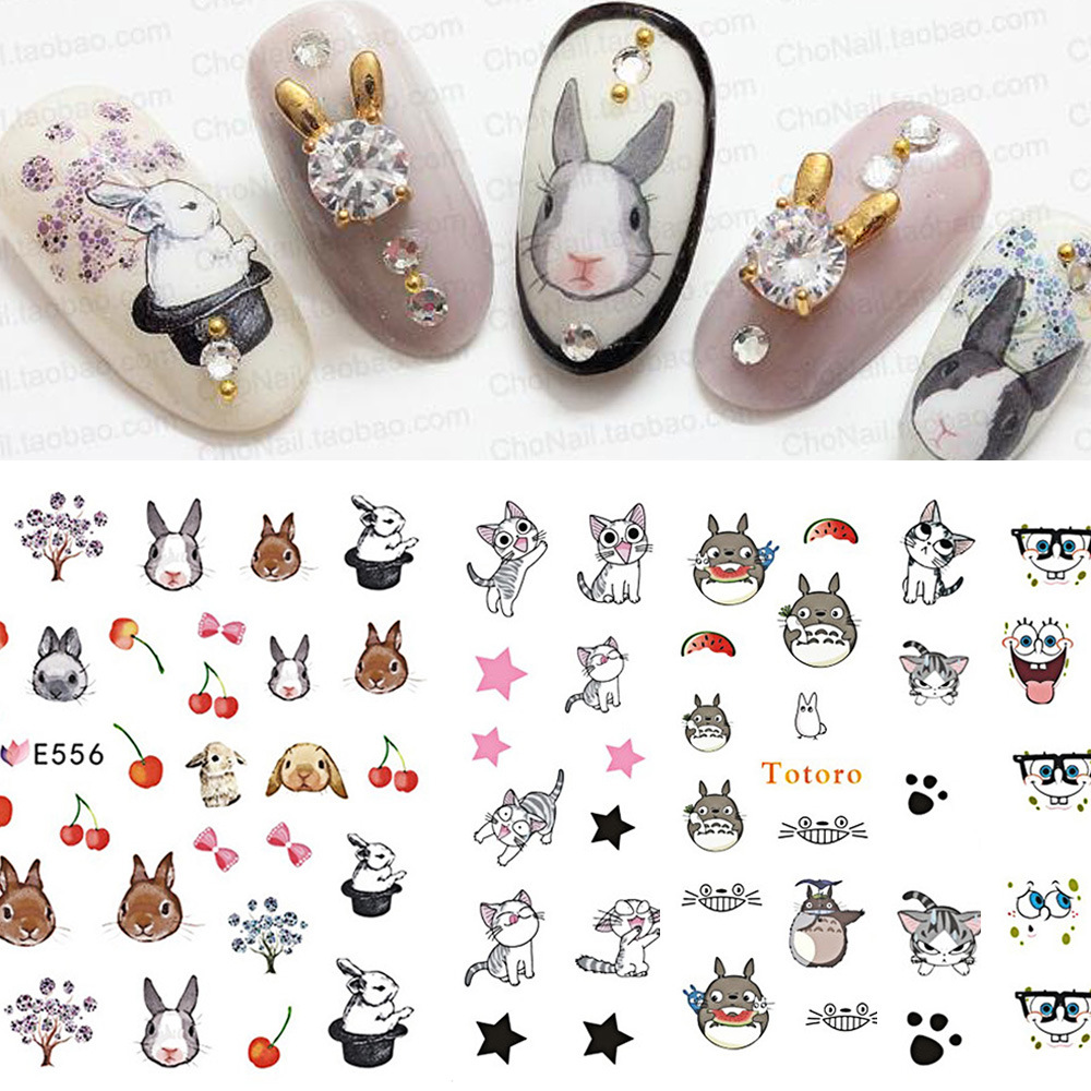 Cross Border For Europe And America Popular Nail Sticker Warm Color Cute Bunny Cat Series Manicure Water Sticker E556