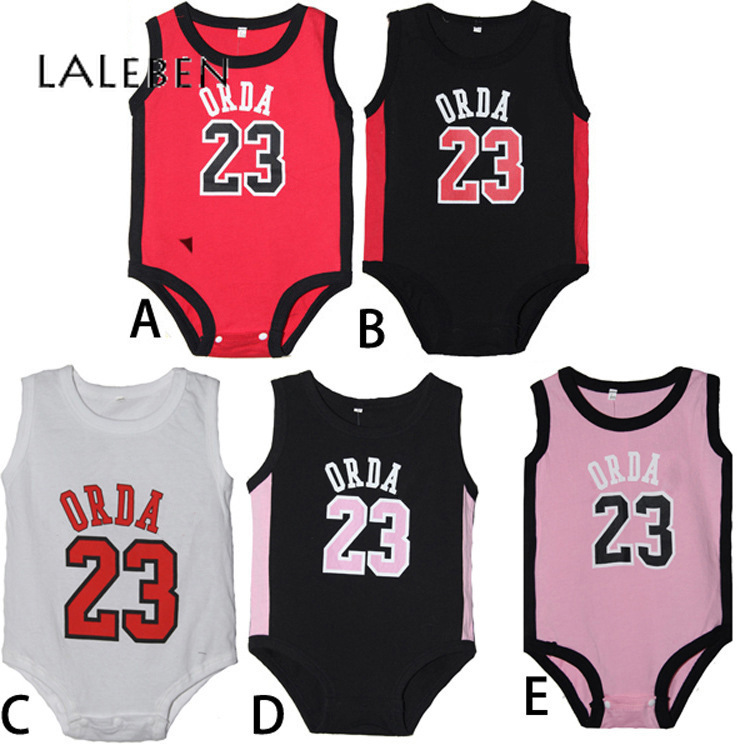 Laleben Unisex Baby Bodysuit Basketball Style Active Summer Sleeveless Sports O-neck Tollder Clothing Newborns Baby Boy Jumpsuit
