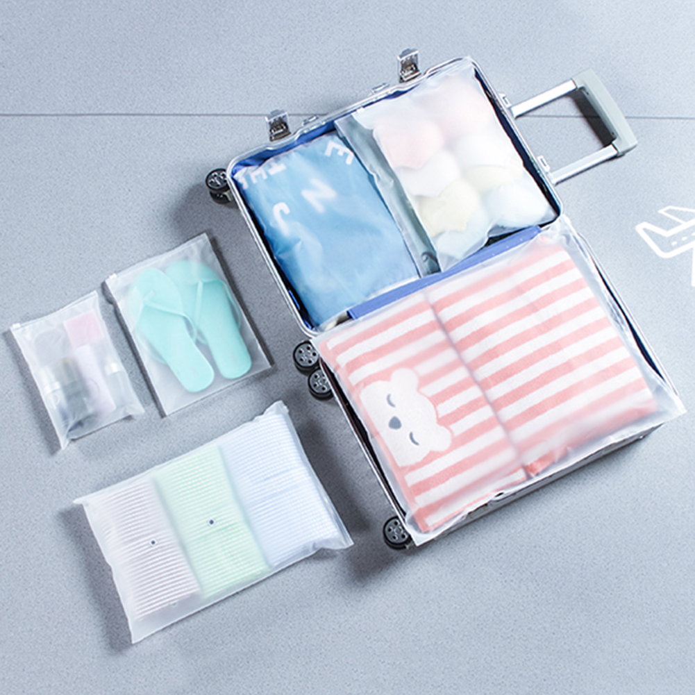Plastic Storage Bag Matte Clear Zipper Seal Travel Bags Zip Lock Valve Slide Seal Packing Pouch For Cosmetic Clothing