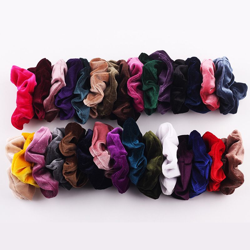 1PCS Women Velvet lastic Hair Bands Girls Fashion Floral Scrunchies Stretchy Hair Holder Rope Tie Hair Accessories