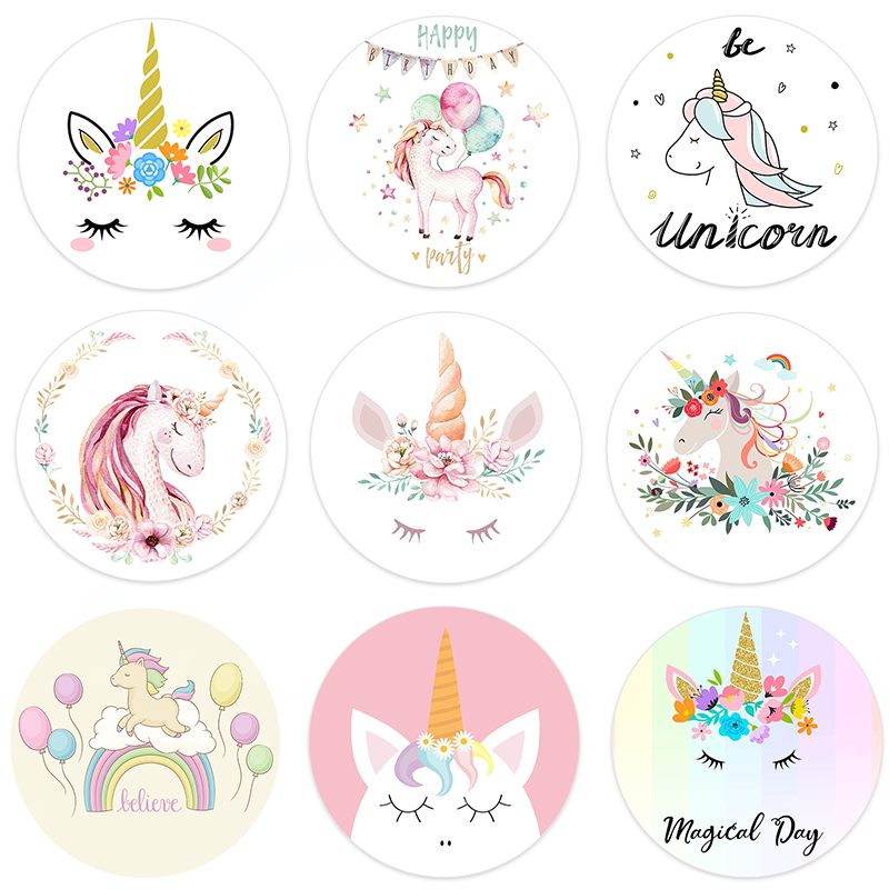 24/48pcs  Gift Box Bottle Label Stickers Unicorn Stickers Baby Shower Unicorn Party Decoration Girls Birthday Party DIY Supplies