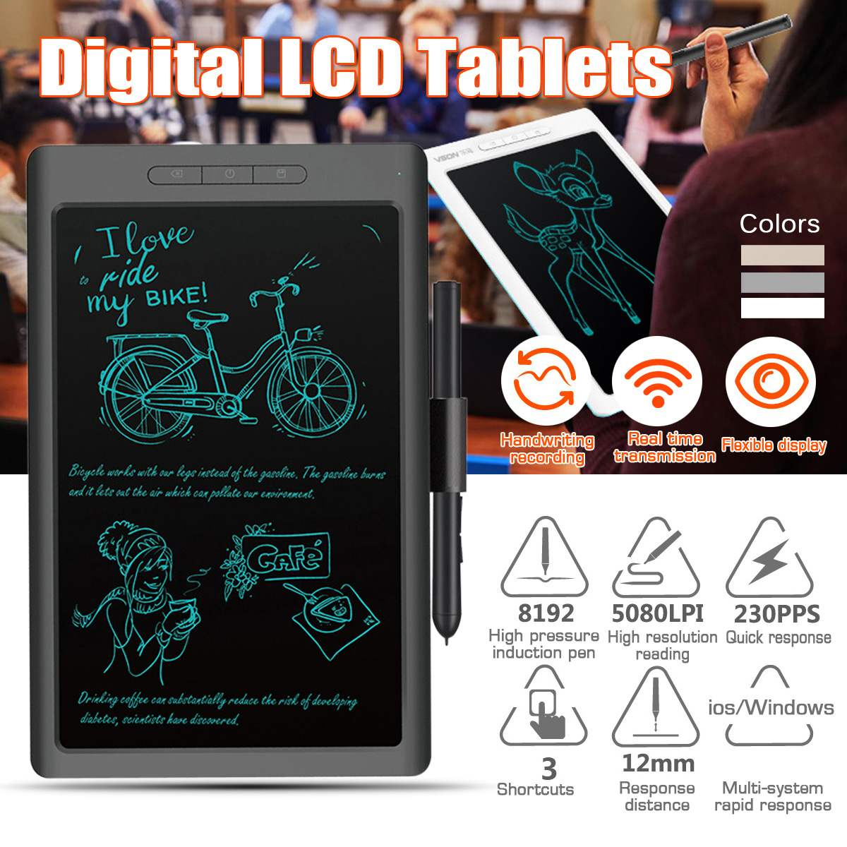 2 Colors 10'' bluetooth USB LCD Digital Anime Drawing Online Learn Graphics Tablet with Digital Pen for Android Windows for MAC