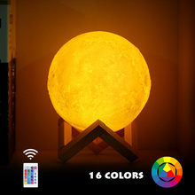 New Dropship 3D Print Moon Lamp Rechargeable LED Night Light Colorful Change Touch USB Lights With Remote Home Decor Gift